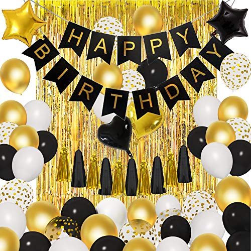Black Gold Birthday Party Decorations Kit, 18'' 12'' Confetti Foil Black Gold White Balloons Happy Birthday Banner Tassels Metallic Fringe Curtains 18th 30th 40th 50th 60th Birthday Supplies for Men Women Him