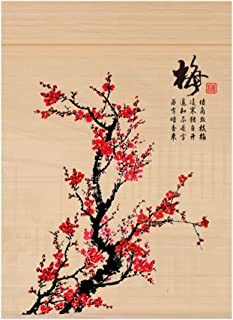 CHAXIA Roller Blind Bamboo Shade Plum Flower Printing Curtain Partition Living Room Balcony, 2 Styles, Customizable (Color : A, Size : 60x180cm)