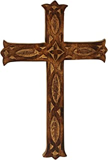 CRAFKART Friday Sale Big 16x10 Inch Wood Wall Mounted Holy Cross - Wooden Carved Wall Cross - Ideal Gift or Decoration for Home, Weddings, Party, Spa, Meditation, Home Office, Spa, Dorm