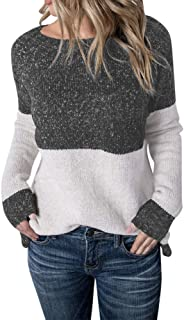 FarJing Womens Casual Long Sleeve Color Collision knitting Sweater Blouse