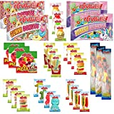 eFrutti Gummi Candy Variety Party Pack - Pizzas, Mini Burgers, Rainbow Unicorn, Gummi Donuts, Sour Mini Burgers, Hot Dogs, Cup Cake, Sea Creature, Sour Fruit Fries, Sour Gecko (33 Total)