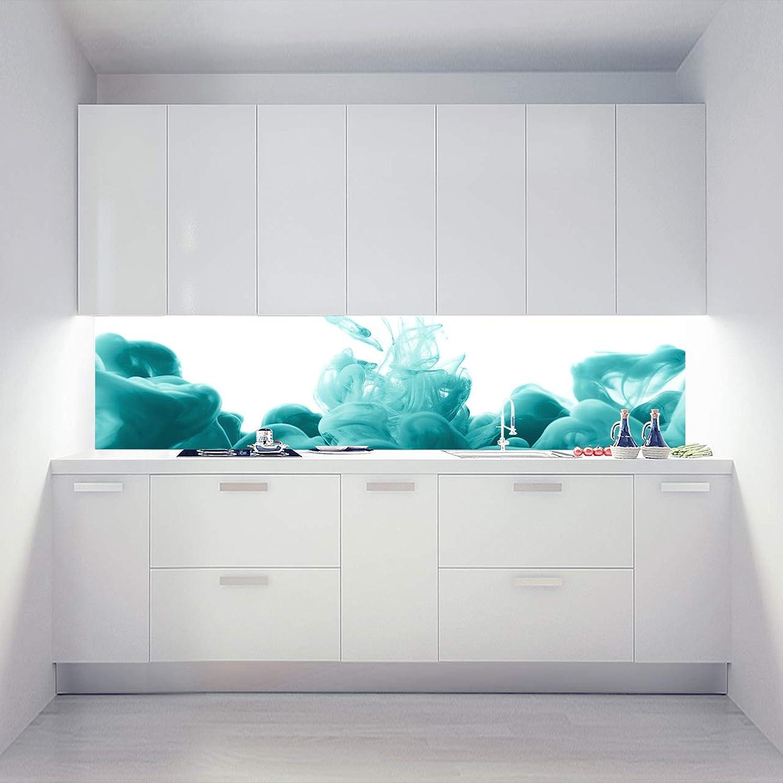 Küchenrückwand Acrylglas als Einzelplatte oder Plattenset für Eck und U-Form Küchen Zuschnitt auf Ma - Motiv Ace Vape Türkis