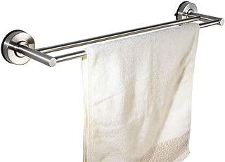 MBYW Modern Minimalist high Load-Bearing Towel Rack Fashion Bathroom Towel Rail Powerful Suction Cup Towel bar Double Rod 304 Stainless Steel Bathroom Toilet Vacuum Suction Cup Type (FE0D), 60cm