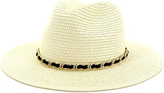 Hats and Caps Okay Jazz Cap Vintage Panama Women Men Straw Sun Hat Fedora Sun hat Women Summer Beach Sun Visor Cap (Color : Cream, Size : 56-58CM)