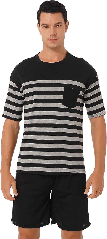 ACSUSS Men's Cotton PJs Short Sleeve Striped Sleepwear Lounge Wear Top & Bottom Pajama Set