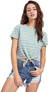 Mujer Camiseta Verano Fashion Flecos Top Elegantes Crop Festival de Moda Manga Corta Cuello Redondo Anudado Anchos Informales Basicas Sin Barriga Camisas Blusa Shirt