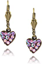 product image for Anne Koplik Ornate Pave Heart Earrings, Gold Plated with Crystal