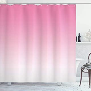 Ambesonne Ombre Shower Curtain, Dreamy Pale Pink Waterfall Cotton Candy Inspired Modern Digital Print Girls Artwork, Cloth Fabric Bathroom Decor Set with Hooks, 75