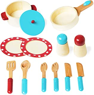 Wooden Pretend Play Cooking Kitchen Sets for Toddlers, Early Educational Developmental Toy Encourages Imaginative Play Kitchen Role Play Fun, Best Birthday Gift for 2 3 4 Years Old Boys and Girls