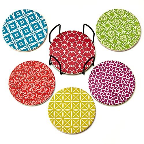 Sottobicchieri Decorati in Ceramica e Sughero con Supporti per Bicchiere - Assorbono l'Umidità e Resistono al Calore - Facili da Lavare