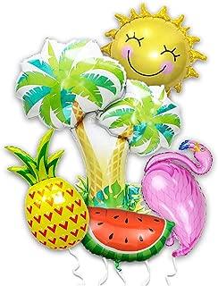 Summer Luau Hawaiian Tropical Flamingo Party Balloon 5Pcs Palm Tree Beach Pool Party Pineapple Aloha Watermelon Fruit Sunshine Baby Birthday Bridal Shower Bachelorette Party Decorations