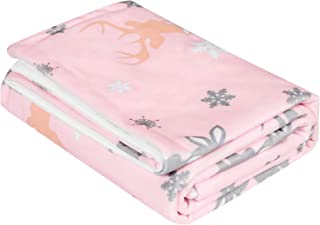 """TILLYOU Microfleece Short Plush Minky Baby Blanket for Winter - Christmas Theme Ultra Soft Large Toddler Bed Crib Blanket with Snowflake & Reindeer - Machine Washable & Super Warm, 39""""x47"""" Pink"""