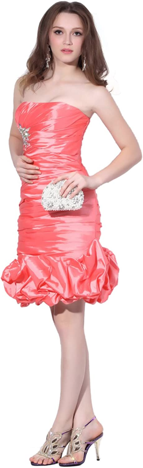 Vampal Watermelon Strapless Bubble Skirt Taffeta Gown With Beaded Embellishment