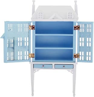 simhoa 1/12 Mini 3 Layer Cabinet Sideboard Bookcase Baby Doll Room Furniture Accs - Blue