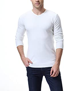 AOWOFS Mens Pullover V Neck Sweater Slim Comfortably Knitted Long Sleeve Solid Color