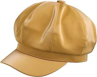 Samtree Visor Plain Newsboy Hats for Women, 8 Panel Ivy Beret PU Leather Cabbie Cap