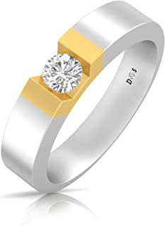 14K Gold with 0.32 Carats Glowing crown couple solitaire ring for him - RM1302
