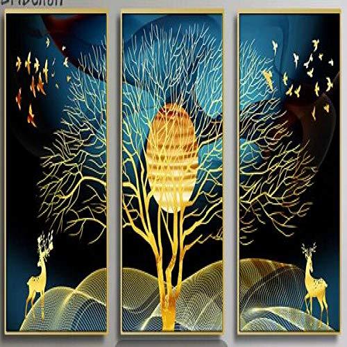 Dekorative 3 stücke Nordischen Stil Gold Hirsch Tier und bäume Landschaft Wand Poster Wohnzimmer Dekoration HD leinwand malerei