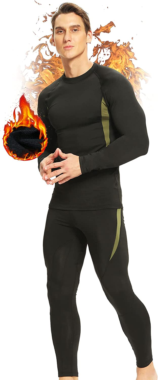 Thermal Underwear for Mens Long Johns Thermal Set Base Layer Bottom Top Fleece Lined Ultra Soft