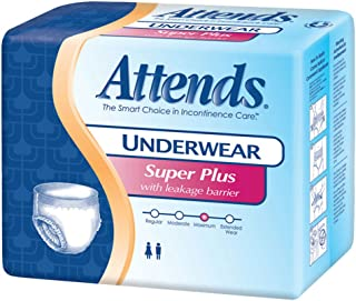 Attends Underwear Super Plus with Leakage Barriers Medium 34-44in, 120-175lb, 80 ea
