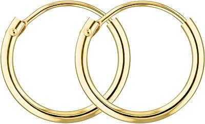 Orecchini leggerissimi Cerchi Piccoli Donna 13 mm in oro giallo 333/375/585/750, largh. 1,3 mm, marchio di garanzia made in Germany