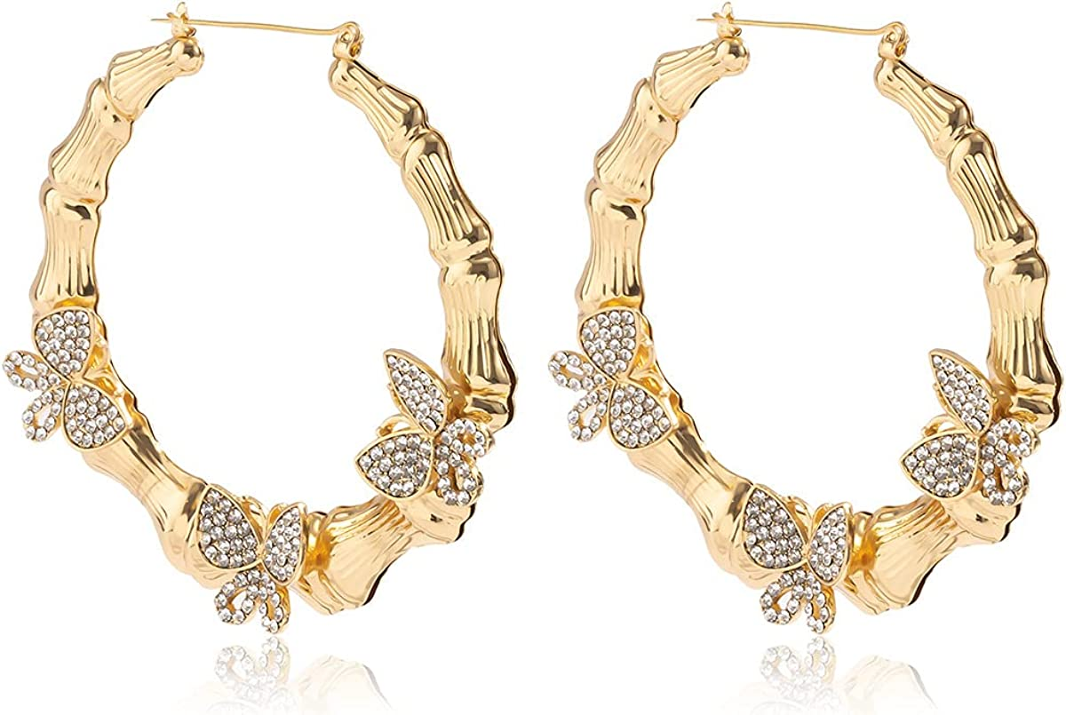 Large 18K Gold Plated Butterfly Bamboo Hoop Earrings Large Twisted Metal C shape for Women Girls Geometric Party Minimalist Piercing Jewelry
