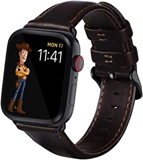 KADES for Apple Watch Band 42mm, Leather Strap for Apple Watch Band 44mm Series 4 Series 5 iWatch Bands 42mm (Coffee with Silver Hardware)