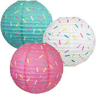 Just Artifacts 12inch Donut Party Hanging Paper Lanterns (Sprinkles Pattern, 3pcs)