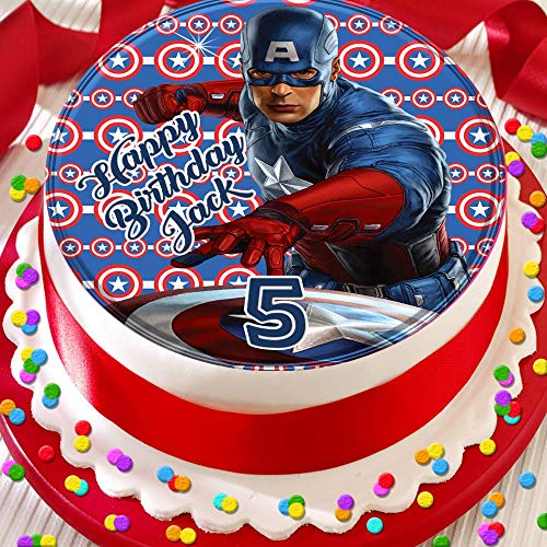 Captain America Happy Birthday Personalised 7.5 INCH Edible Icing Cake Topper Decoration