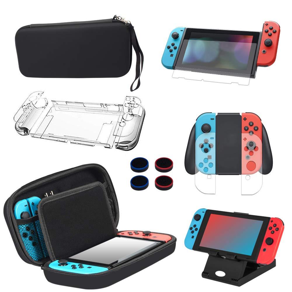 Kit de Accesorios 13 en 1 Para Nintendo Switch, Funda Protectora Para Interruptor Nintendo, Protector de Pantalla, Cubierta Transparente Para Interruptor,Tapas Para Empuñadura de Pulgar: Amazon.es: Videojuegos