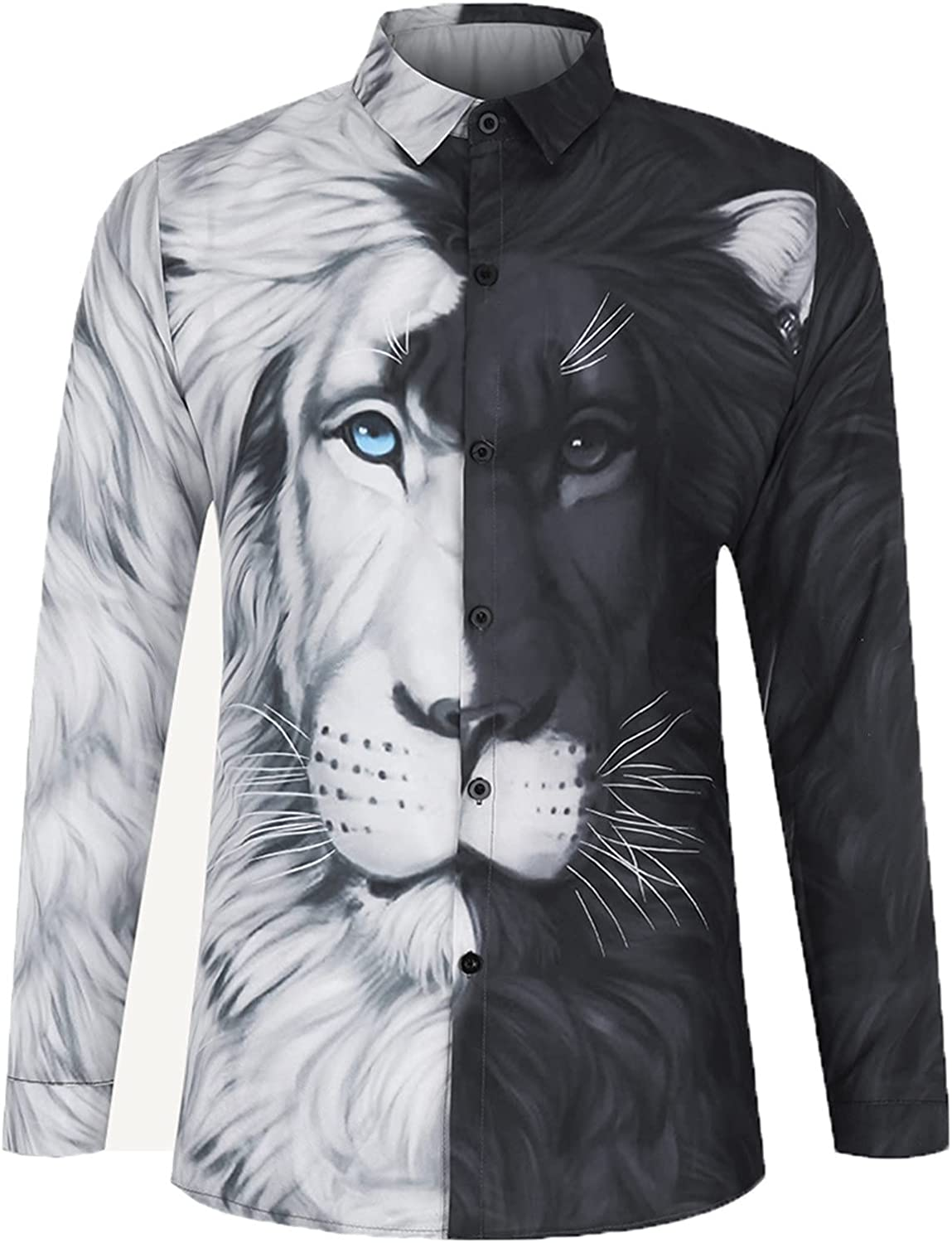 Mens Casual Shirts Fashion 3D Animal Full Printed Long Sleeve Button Down T Shirts Summer Slim Fit Tops