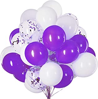 12 inch Purple,White and Confetti Latex Balloons for Party Decoration 50 Pcs