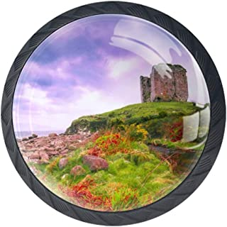 Coastal Landscape County Kerry in Ireland with Medieval Castle Ruins and Dramatic Sky 4 Pack Crystal Glass Cabinet Knob Drawer Pull Handle