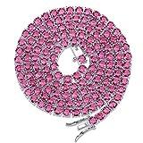 Collar de circonita roja y azul con influjo de Hip Hop para hombres y mujeres con piedras preciosas de 4 mm, 123, Plateado rojo, 45,7 cm (18')