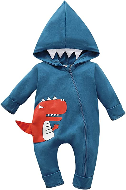 Newborn Baby Boys Girls Dinosaur Romper Hoodie Jumpsuit Cotton Long Sleeve Onesies Baby Outfit Clothes