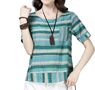 Buildhigh-women clothes Linen Cotton Striped T Shirts Relaxed Fit Slim Fit Blouse Tops
