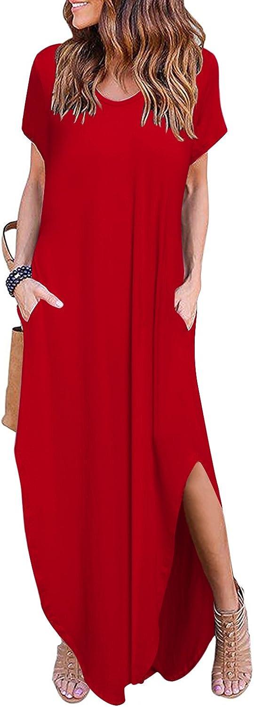 Aliling Women's Casual Pocket Long Dress Scoop Neck Loose Split Maxi Dresses