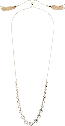 GUESS - Slider Close Stone Front Necklace with Tassels