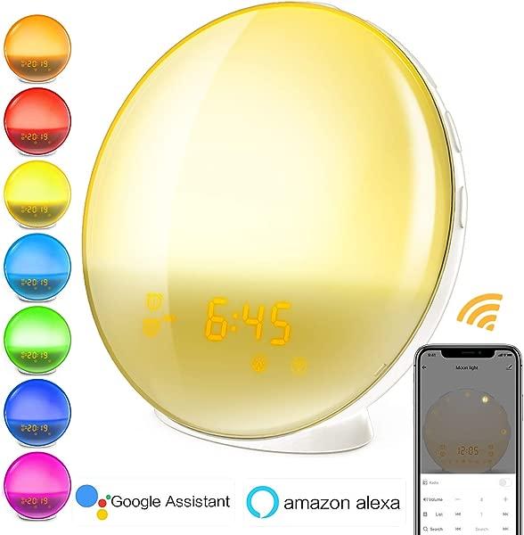 Smart Wake Up Light Alarm Clock 8 Colored Sunrise Simulation Sleep Aid Dual Alarm Clock With FM Radio Compatiable With Alexa And Google Home