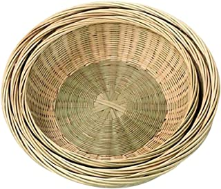 Natural Bamboo Baskets Hand Woven Basket Round Bamboo Serving Bowl Storage Organisation Baskets Tray for Fruit, Snack, Veg...