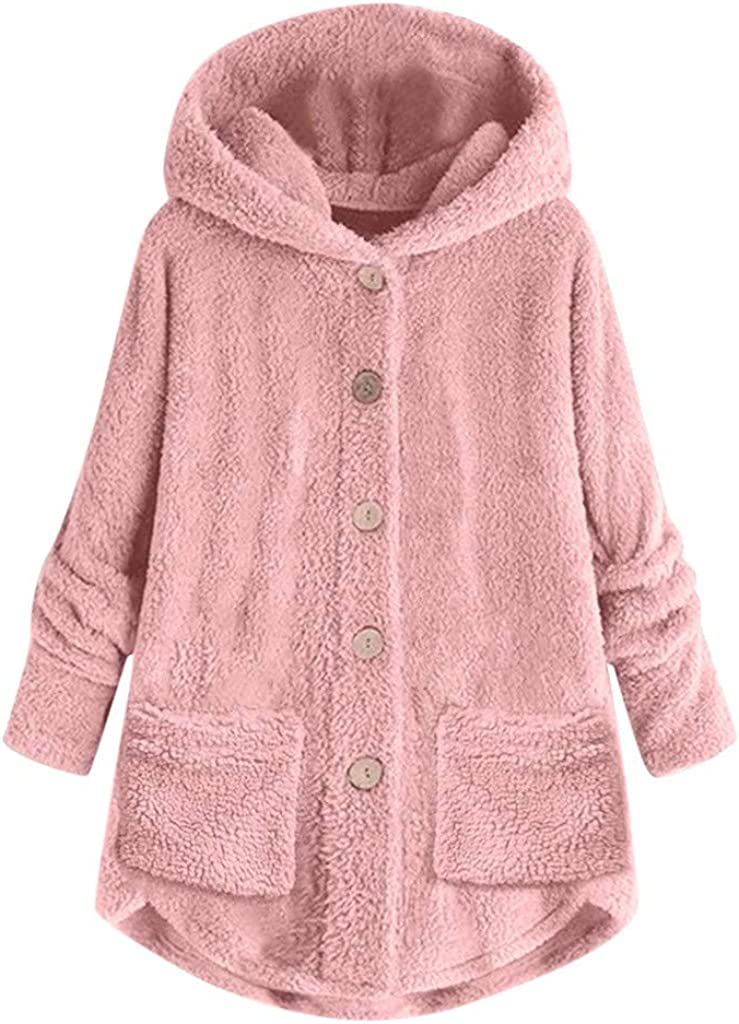 iYYVV service Women Plus Size Button Cardigan Loose Hooded Plush Brand new Pocket