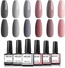 Modelones Gel Nail Polish Set - Nude Gray Series 6 Colors Gel Polish Set Kit, UV LED Soak Off Gel Polish, 0.33 OZ 10ML