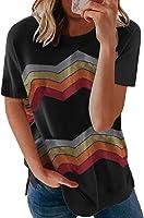 HIKARO Damen Sommer T-Shirt Kurzarm Bluse Casual Crew Neck Tuniken T-Shirt Tops Oberteil S-XXL