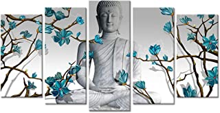 Visual Art Decor 3 Pieces Buddha Wall Art Buddha Statue with Abstract Blue Flowers Painting Canvas Prints for Living Room Bedroom Office Large Picture Decoration (04)