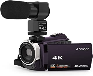 4K Camcorder, Andoer Digital Video Camera 2880 x 2160 48MP HD 3inch Touchscreen Handy Camera with IR Night Sight Support 1...