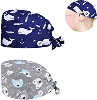 generies One SizeCap Working Hat with ButtonSweatband Adjustable TieBack Hats Printed for Women and Men (2 Pack) Blue,...