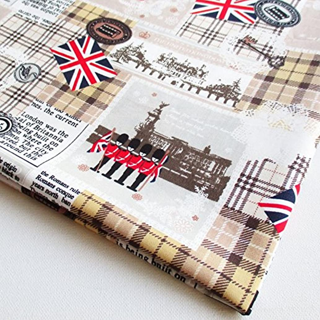 British Fabric - London Invasion England UK Landmarks on Brown 36 by 36-Inch Wide (1 Yard) (CT472)