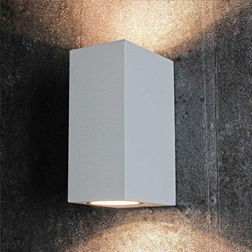 Kompakter Up & Down Fassaden Strahler Wandlampe Außenleuchte in weiß 2x GU10 Fassung bis je 35W IP44 Außenlampe Gartenleuchte Hof Außen