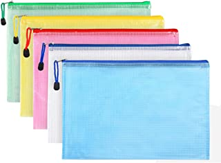 Zip File Folders, Pyhot 10pcs A4 Size Mesh Document File Bags Storage Pouch with Zipper for Cosmetics Offices Supplies Travel Accessories, 5 Colors
