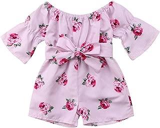 RONSHIN Girls Summer Cute Jumpsuit Baby Print Bows Climbing Romper